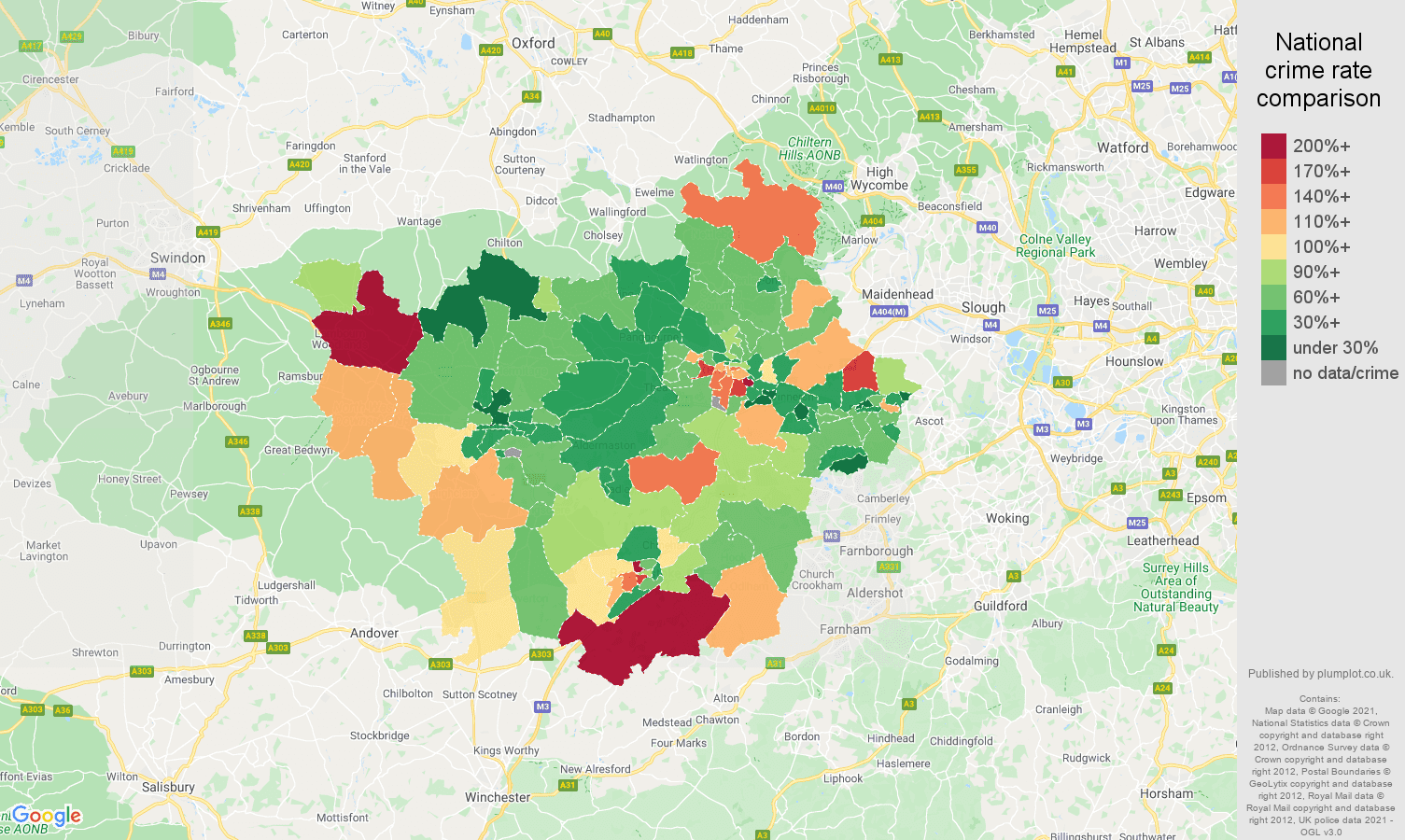 Reading burglary crime rate comparison map