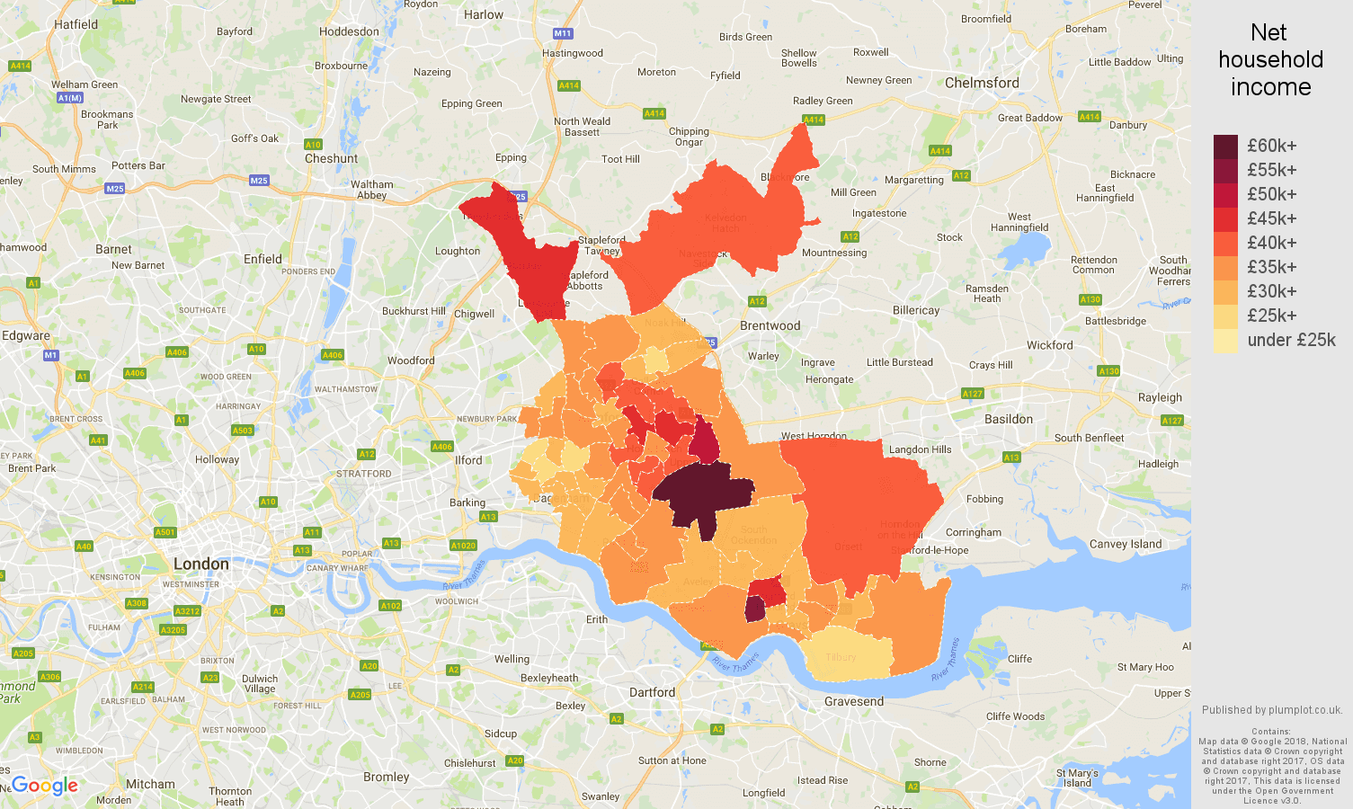 Romford net household income map