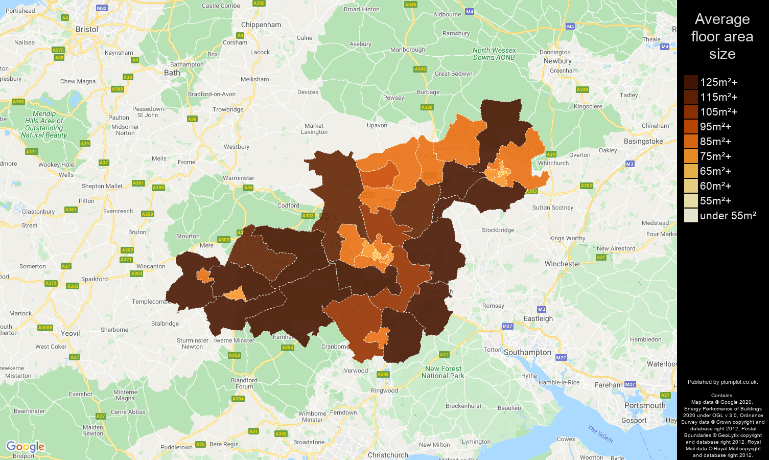 Salisbury map of average floor area size of properties