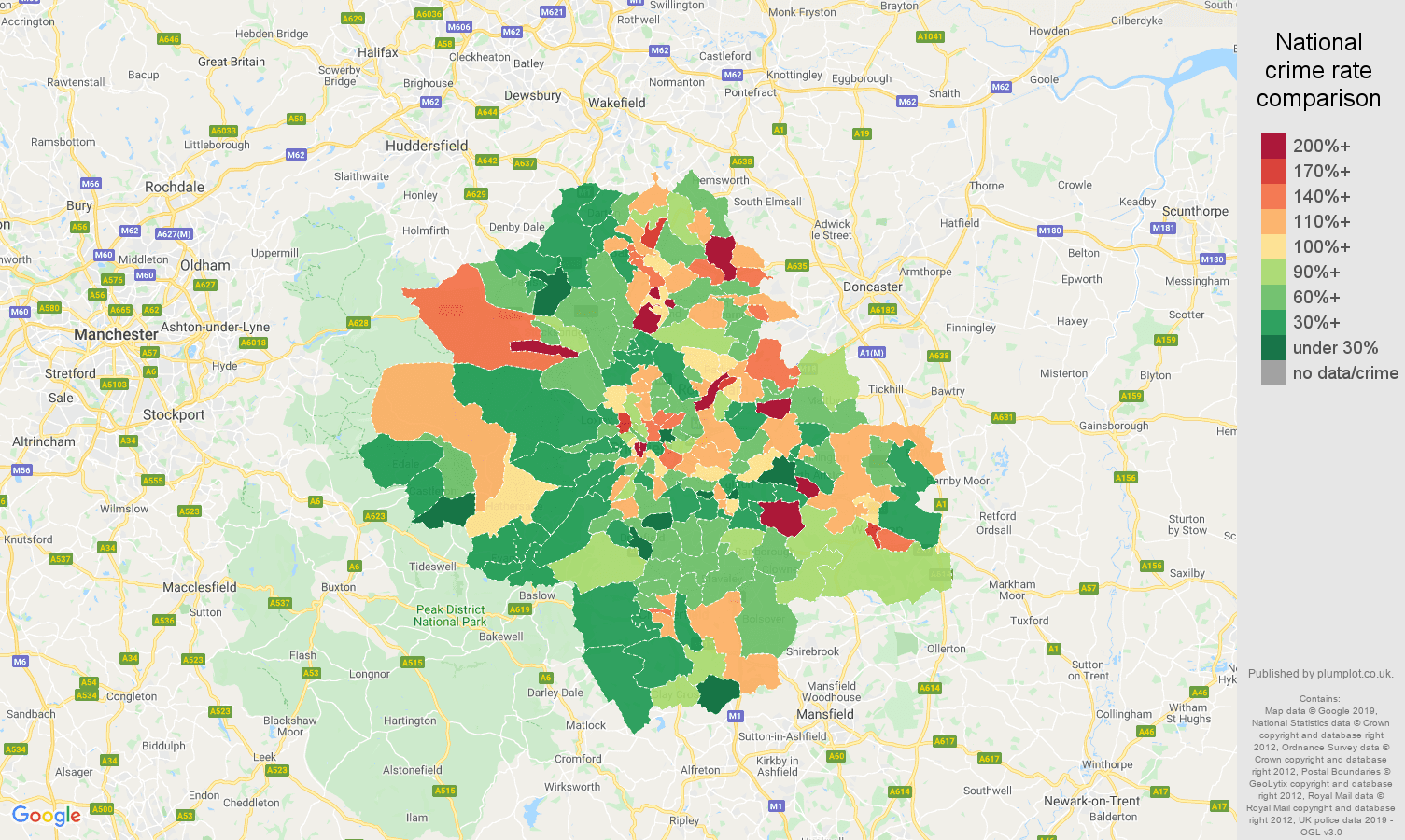 Sheffield other theft crime rate comparison map