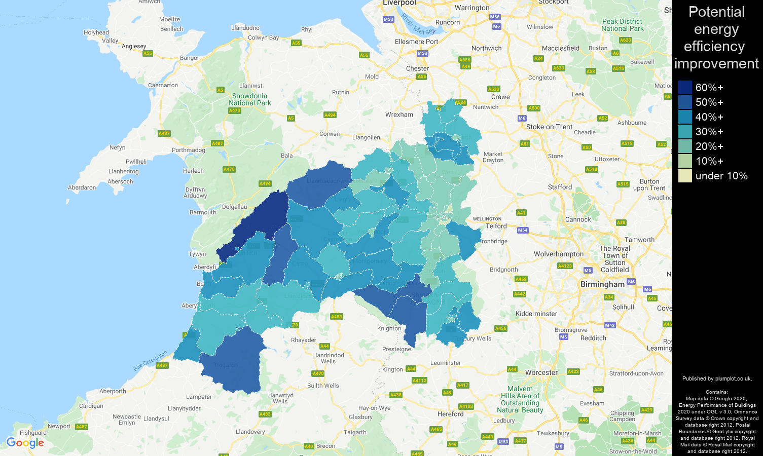 Shrewsbury map of potential energy efficiency improvement of houses