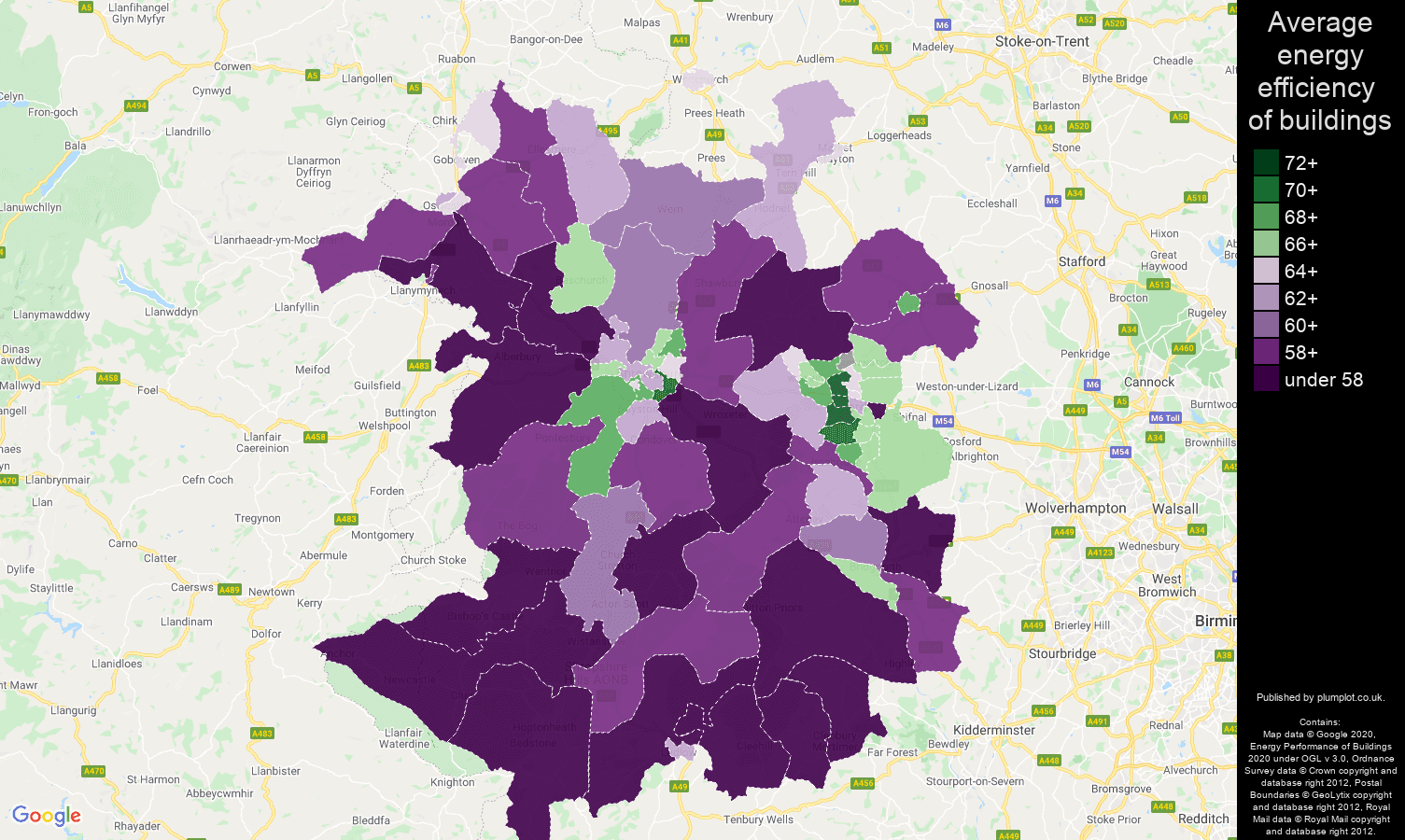 Shropshire map of energy efficiency of properties