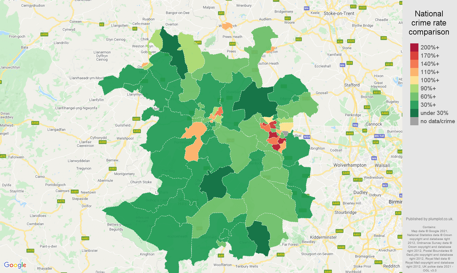 Shropshire violent crime rate comparison map