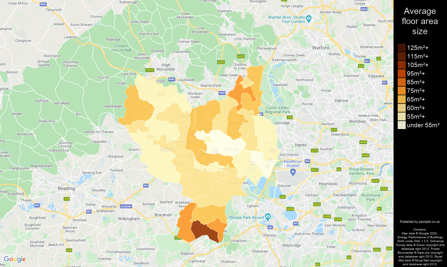 Slough map of average floor area size of flats