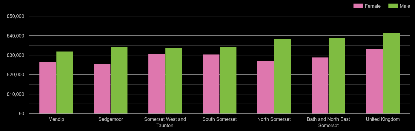 Somerset average salary comparison by sex