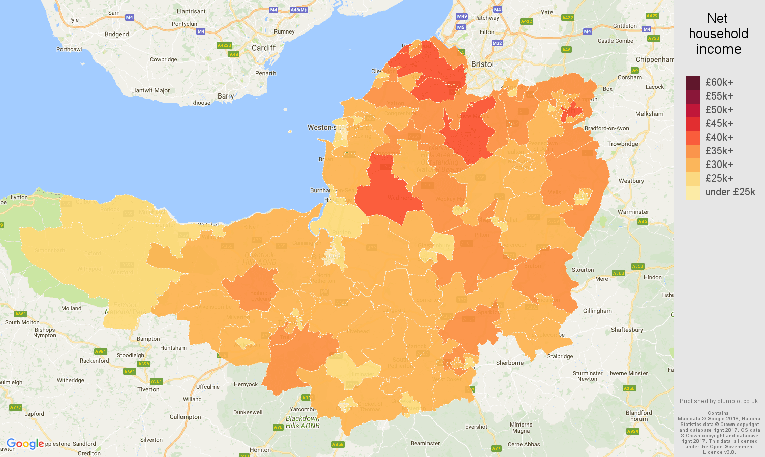 Somerset net household income map
