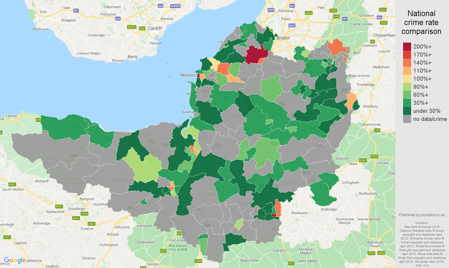Somerset possession of weapons crime rate comparison map