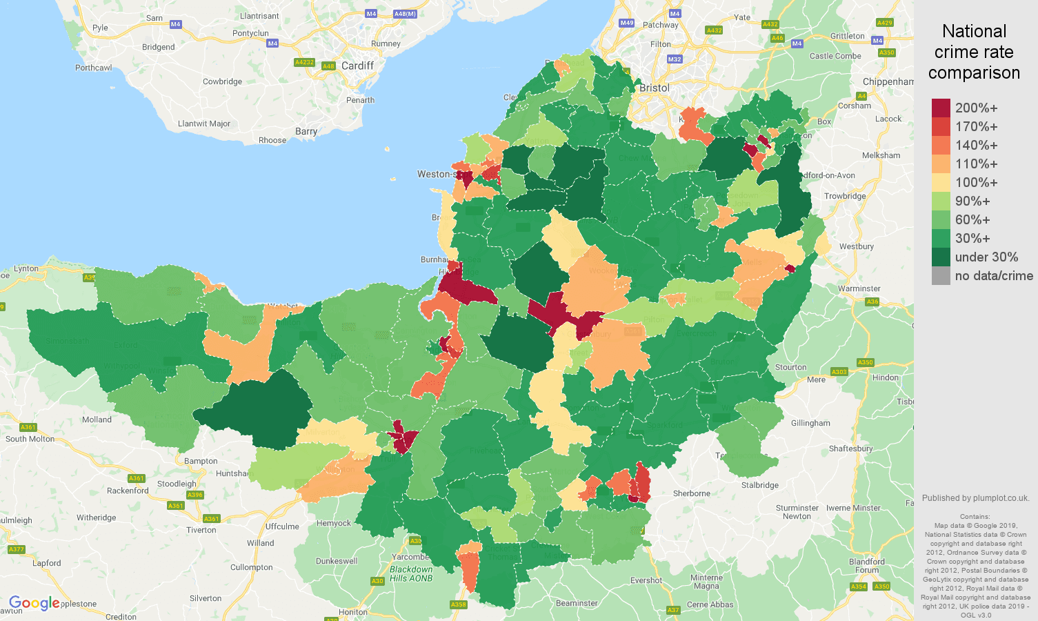 Somerset public order crime rate comparison map