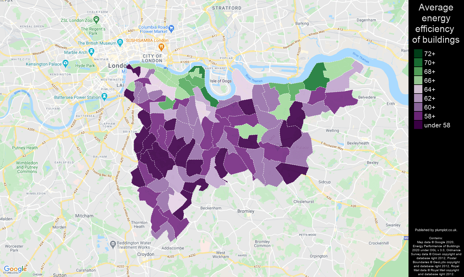 South East London map of energy efficiency of houses