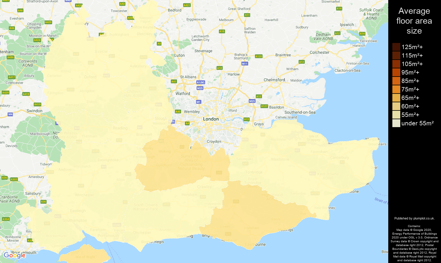 South East map of average floor area size of flats