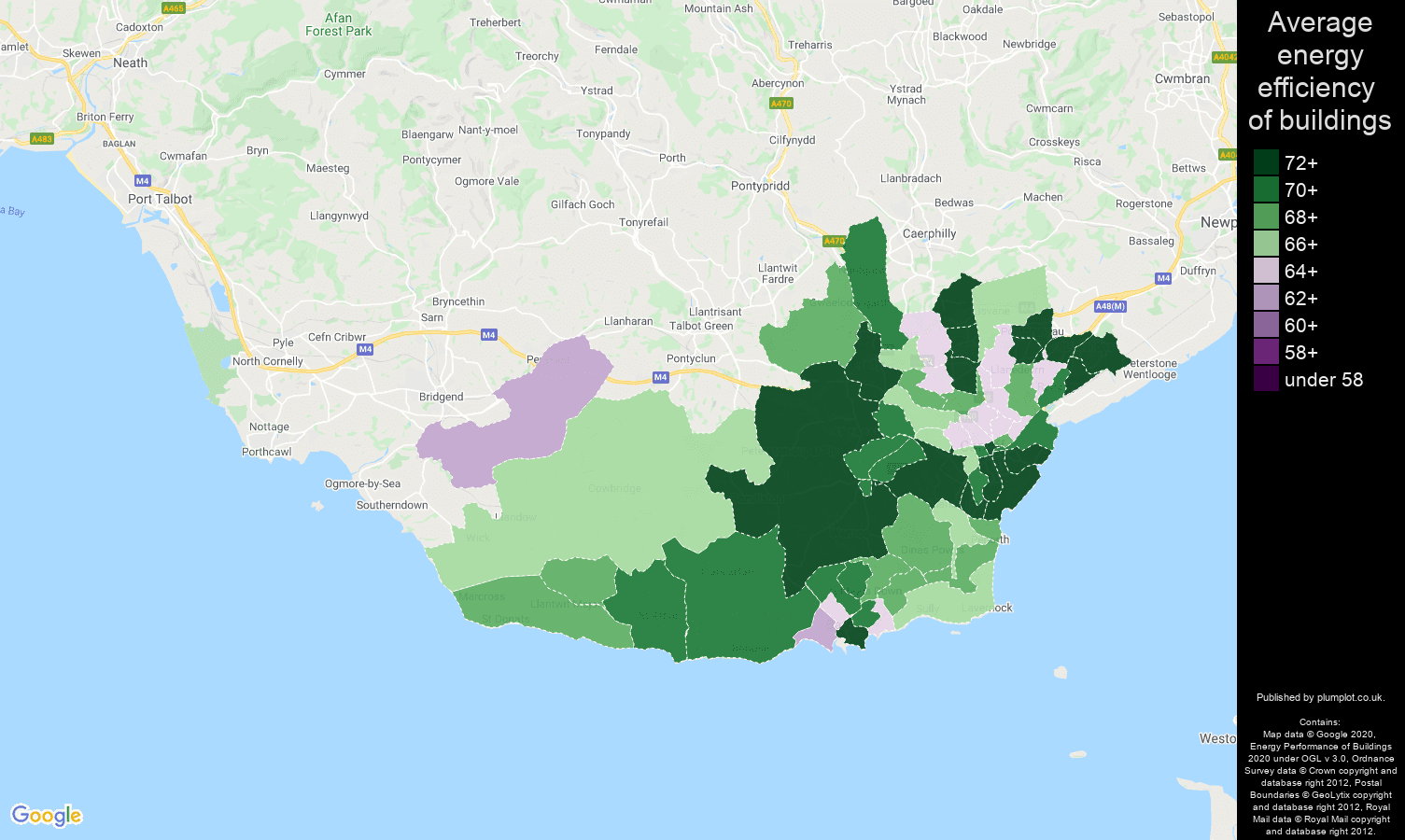 South Glamorgan map of energy efficiency of flats