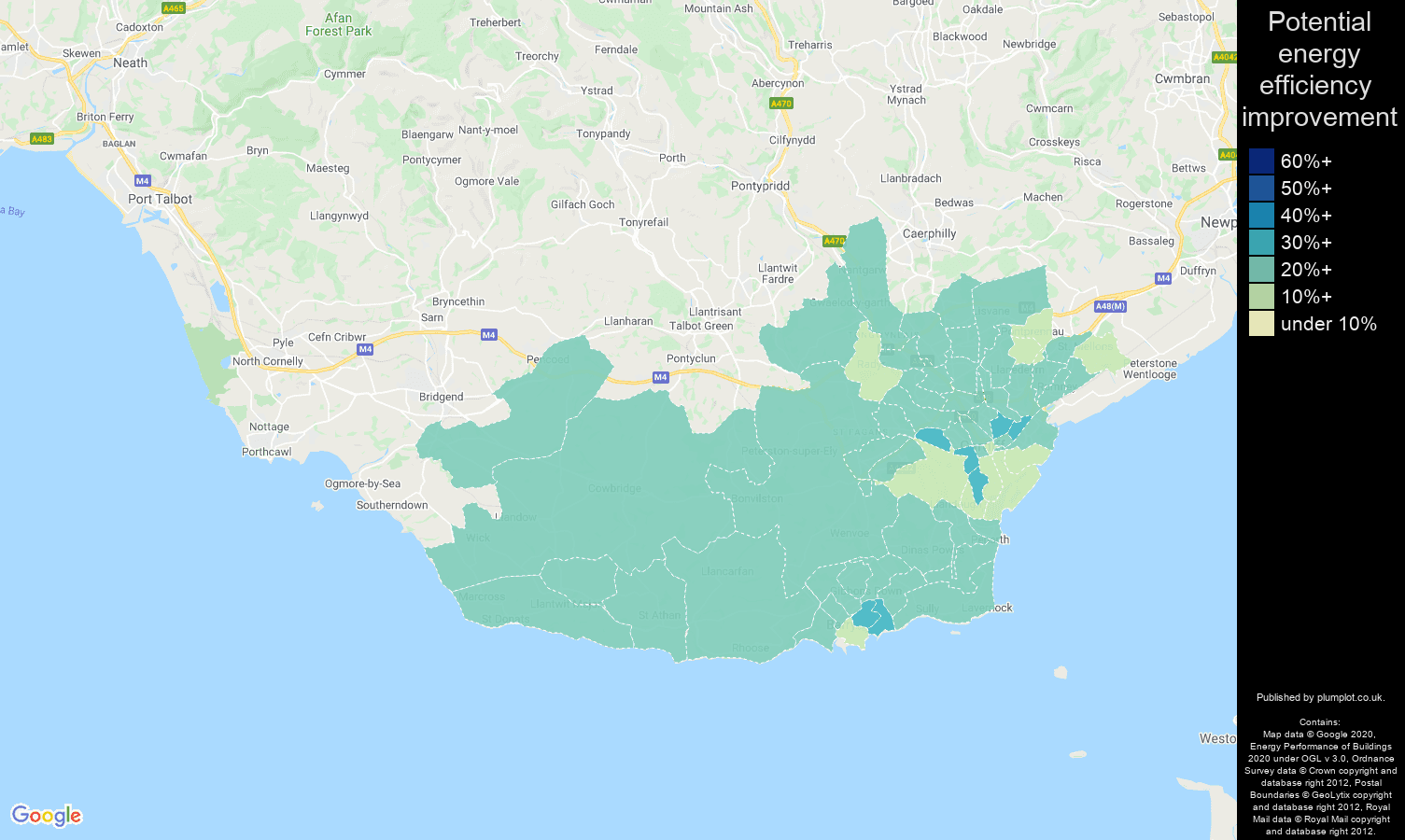 South Glamorgan map of potential energy efficiency improvement of houses