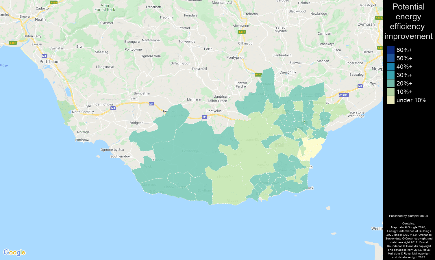 South Glamorgan map of potential energy efficiency improvement of properties