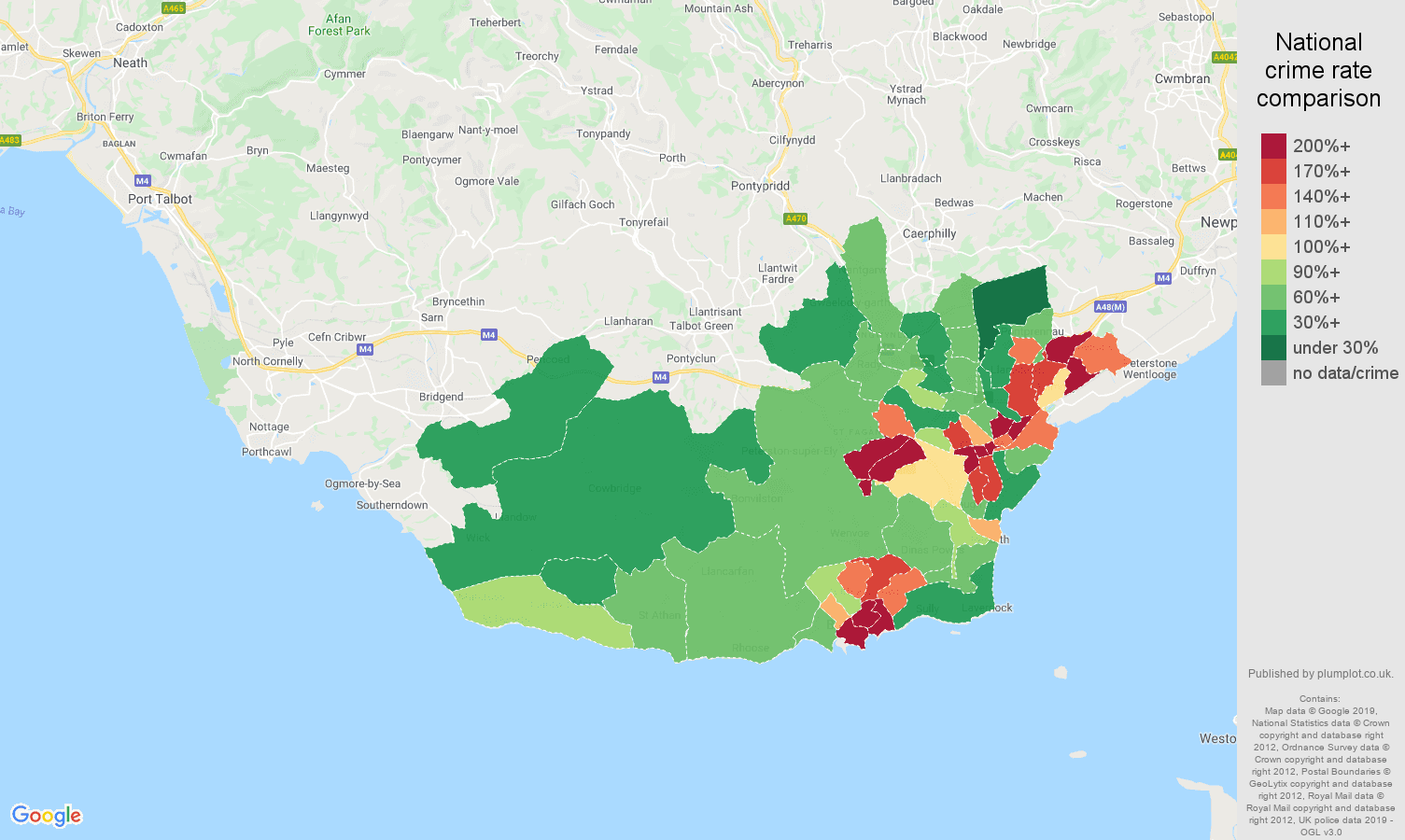 South Glamorgan public order crime rate comparison map
