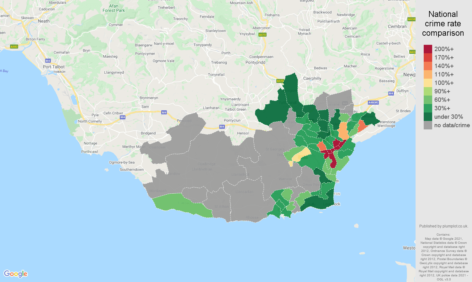 South Glamorgan theft from the person crime rate comparison map