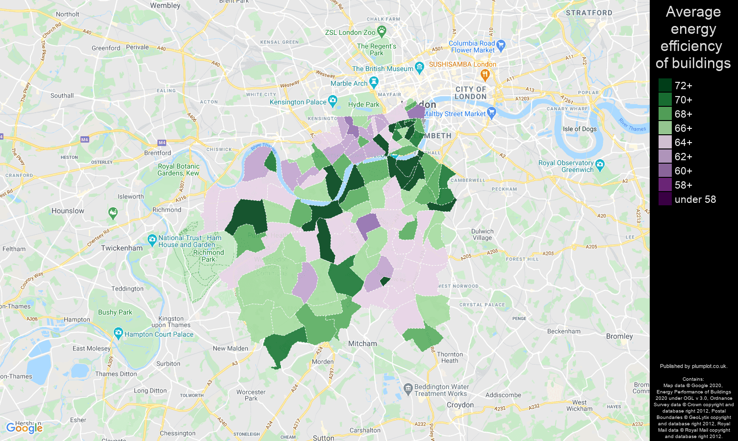 South West London map of energy efficiency of flats