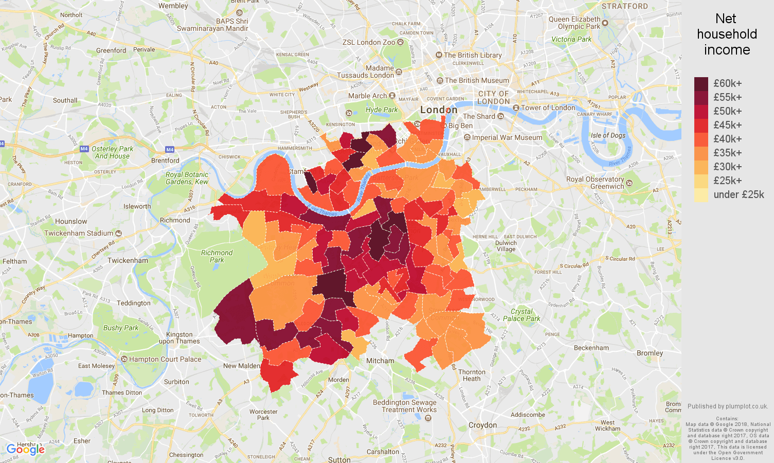 South West London net household income map