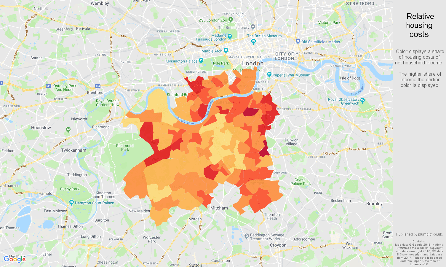 South West London relative housing costs map