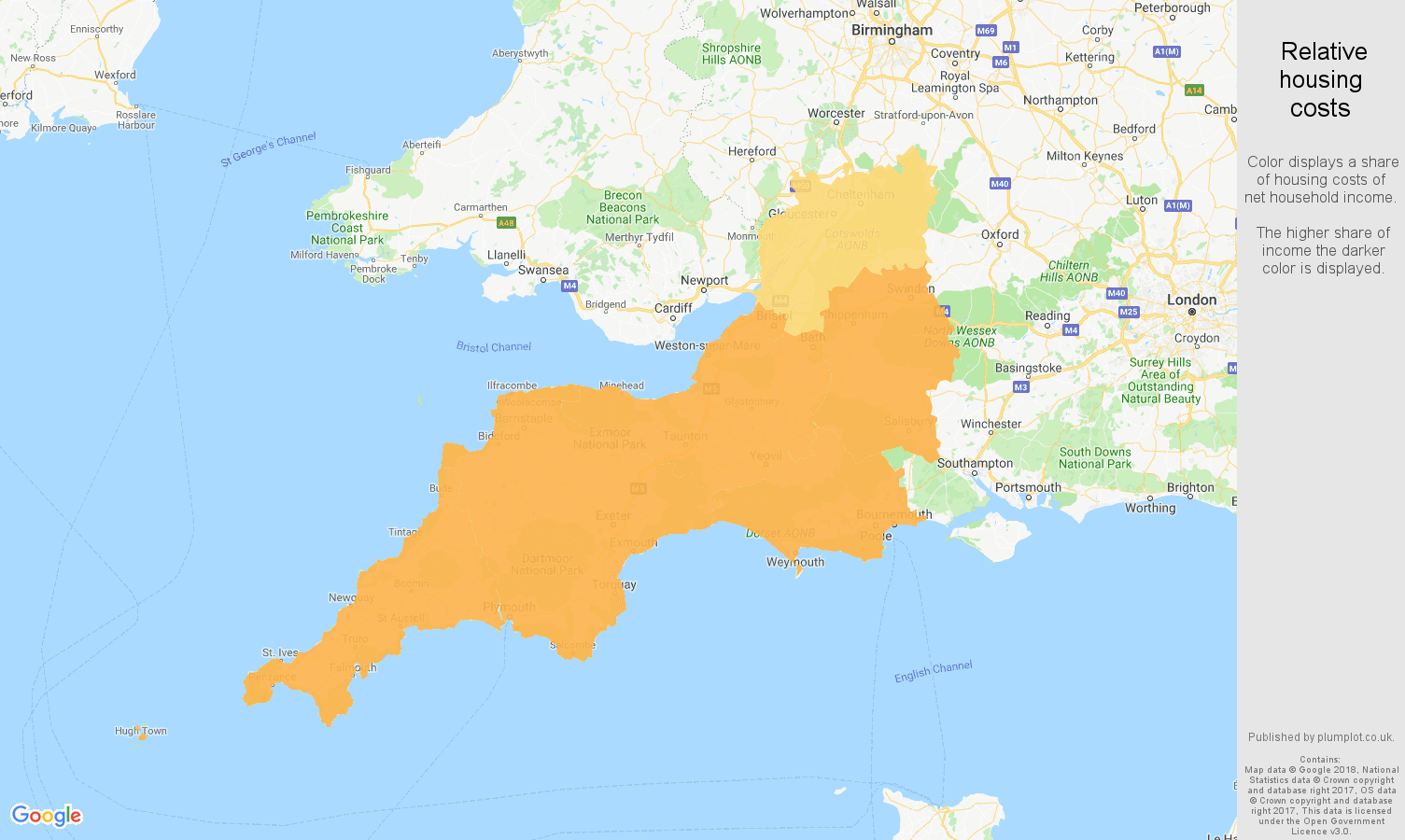 South West relative housing costs map