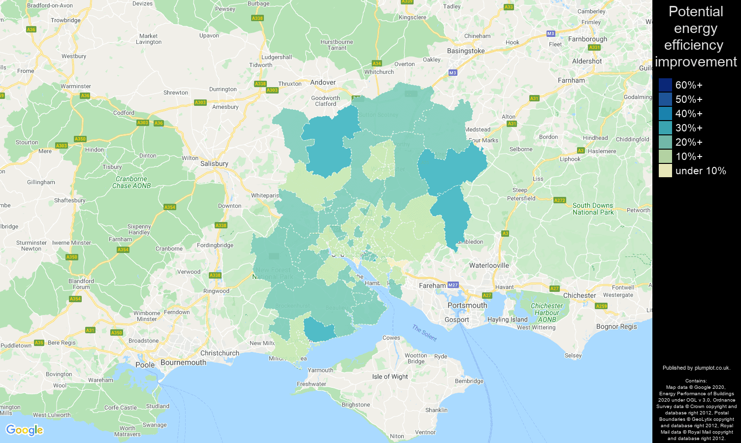 Southampton map of potential energy efficiency improvement of properties