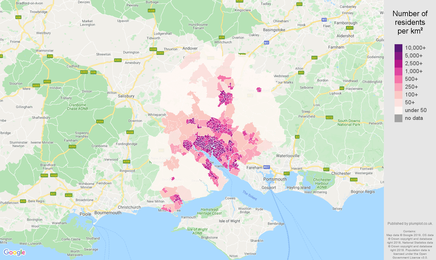 Southampton population density map