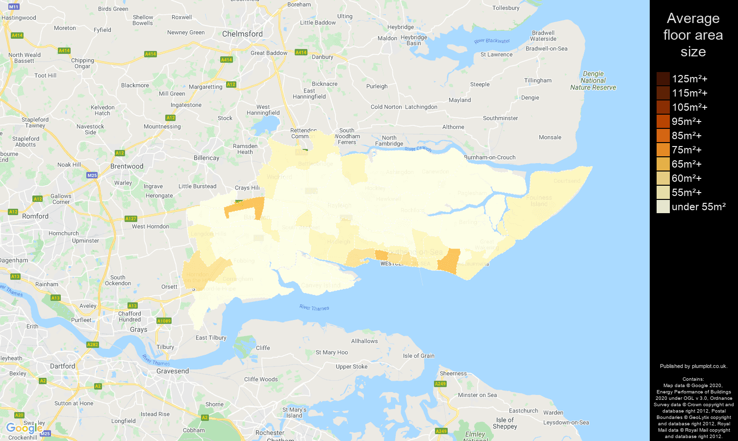 Southend on Sea map of average floor area size of flats