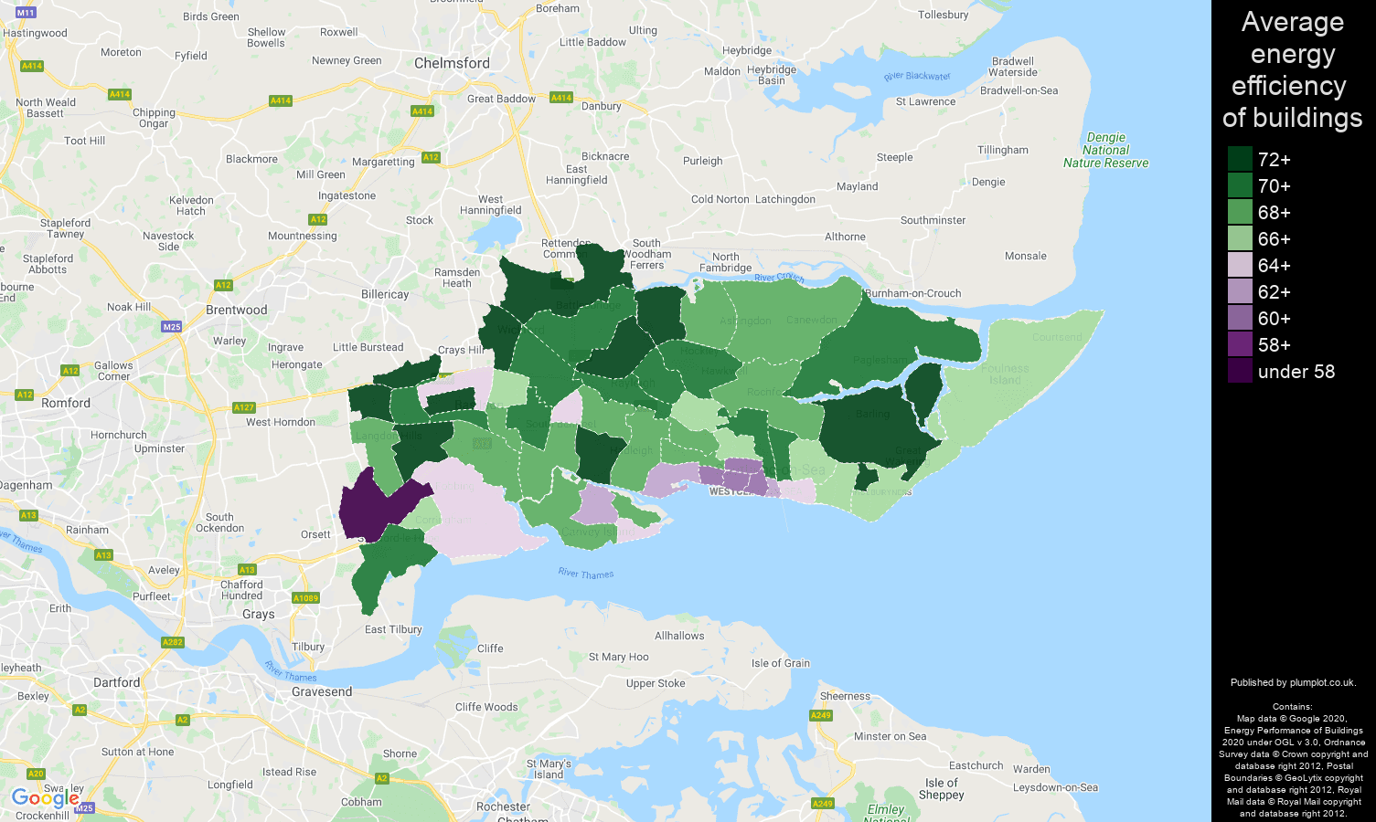Southend on Sea map of energy efficiency of flats