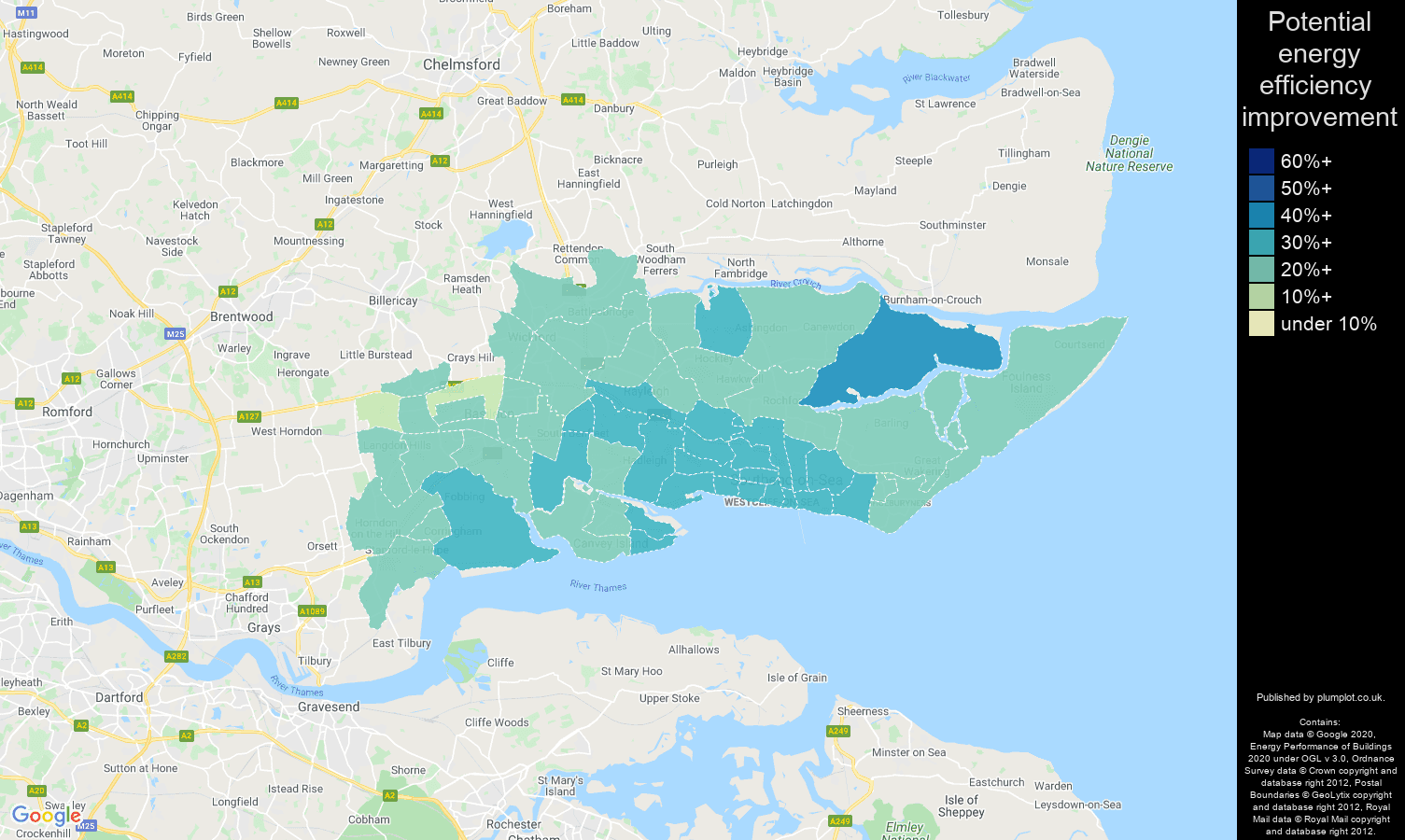 Southend on Sea map of potential energy efficiency improvement of houses