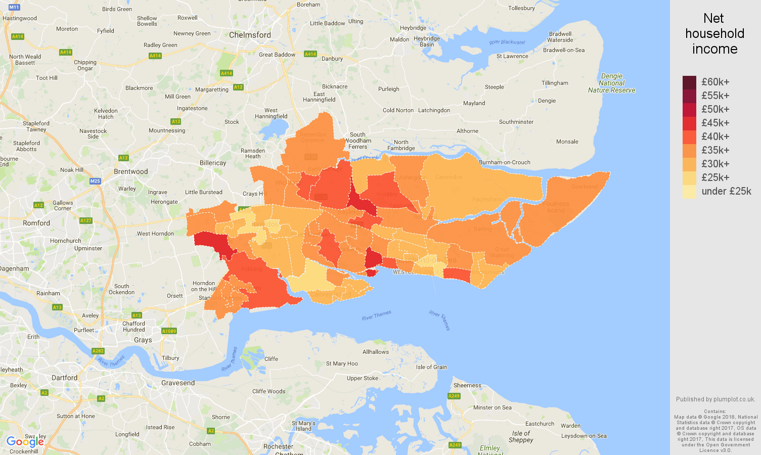 Southend on Sea net household income map