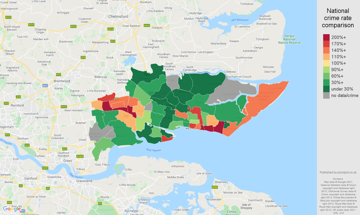 Southend on Sea robbery crime rate comparison map