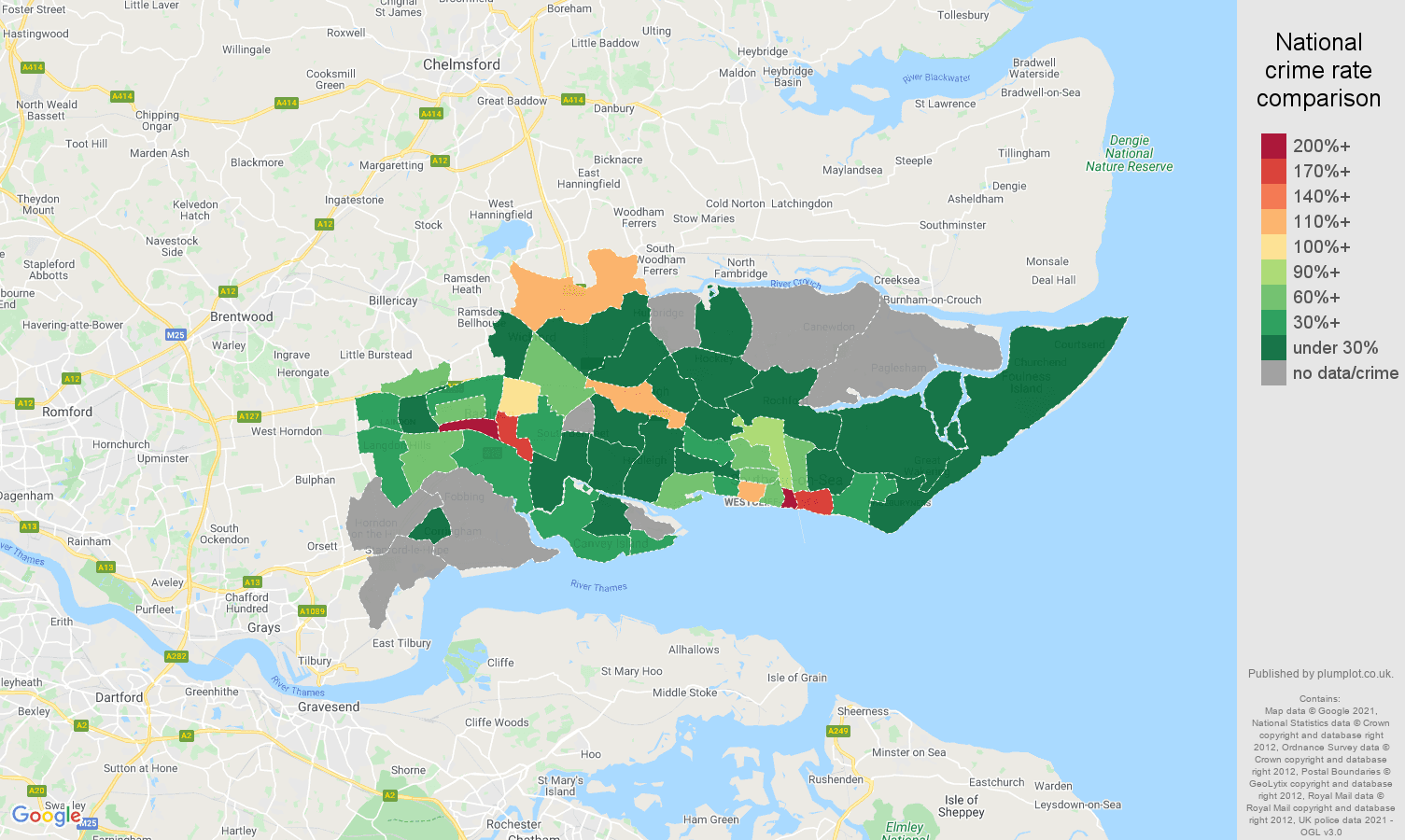 Southend on Sea theft from the person crime rate comparison map