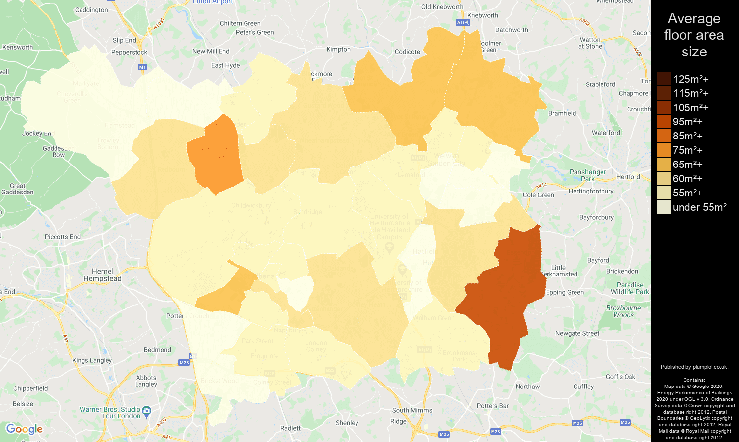 St Albans map of average floor area size of flats