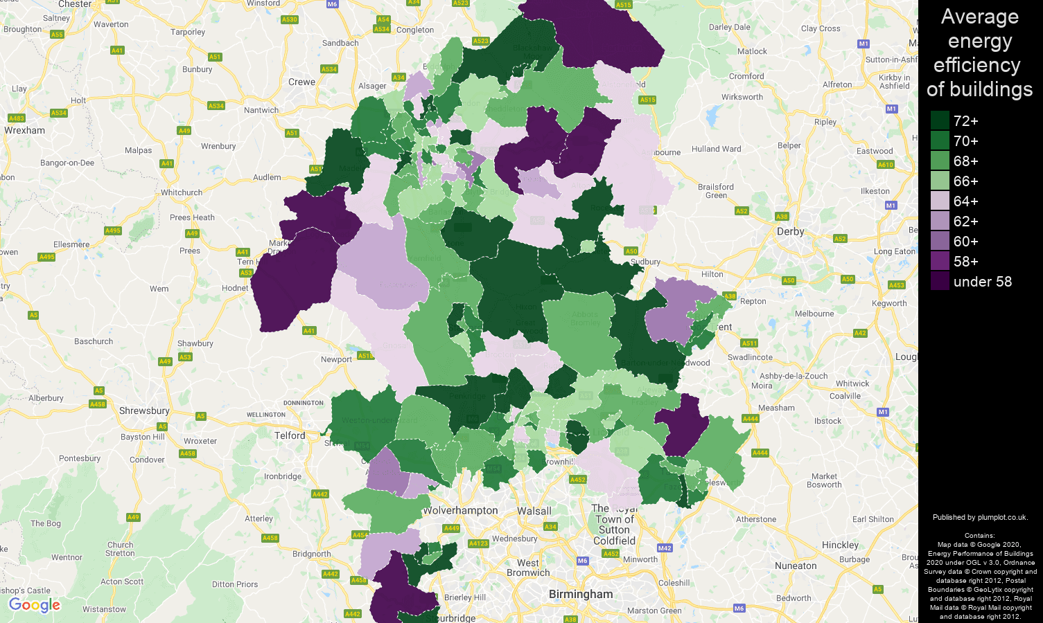 Staffordshire map of energy efficiency of flats