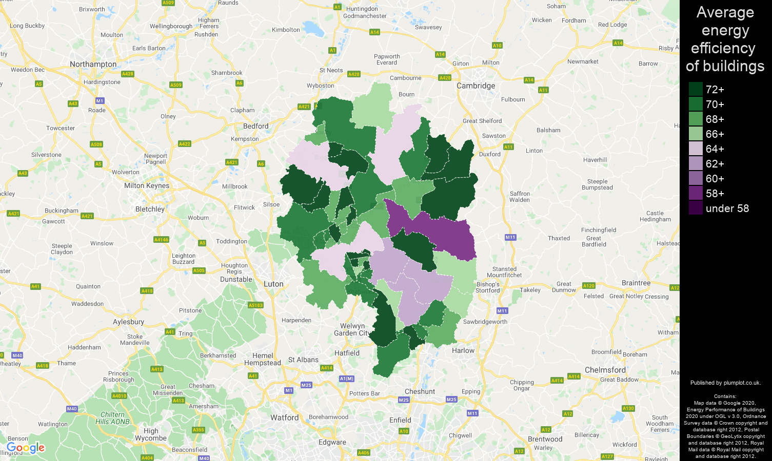 Stevenage map of energy efficiency of flats