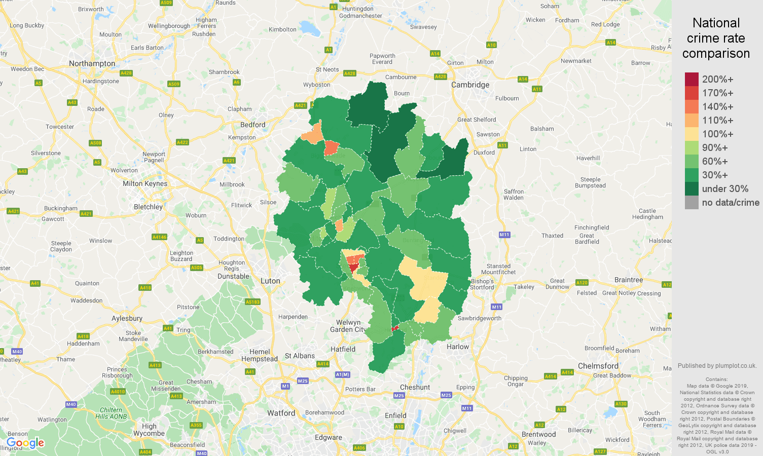 Stevenage public order crime rate comparison map