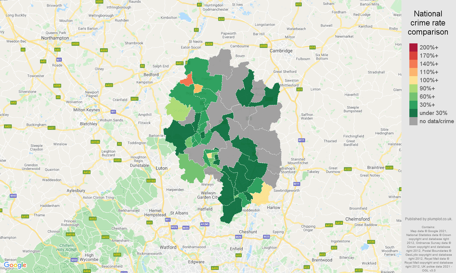 Stevenage robbery crime rate comparison map