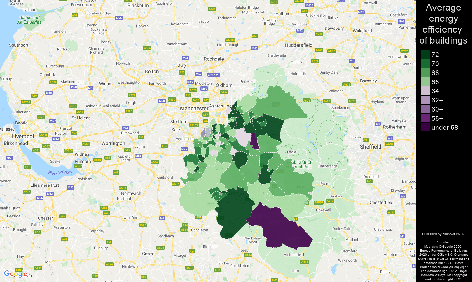 Stockport map of energy efficiency of flats