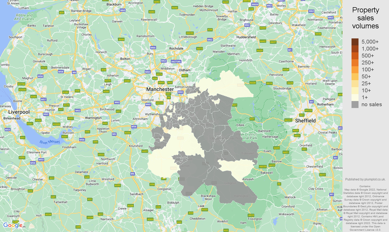 Stockport map of sales of new properties