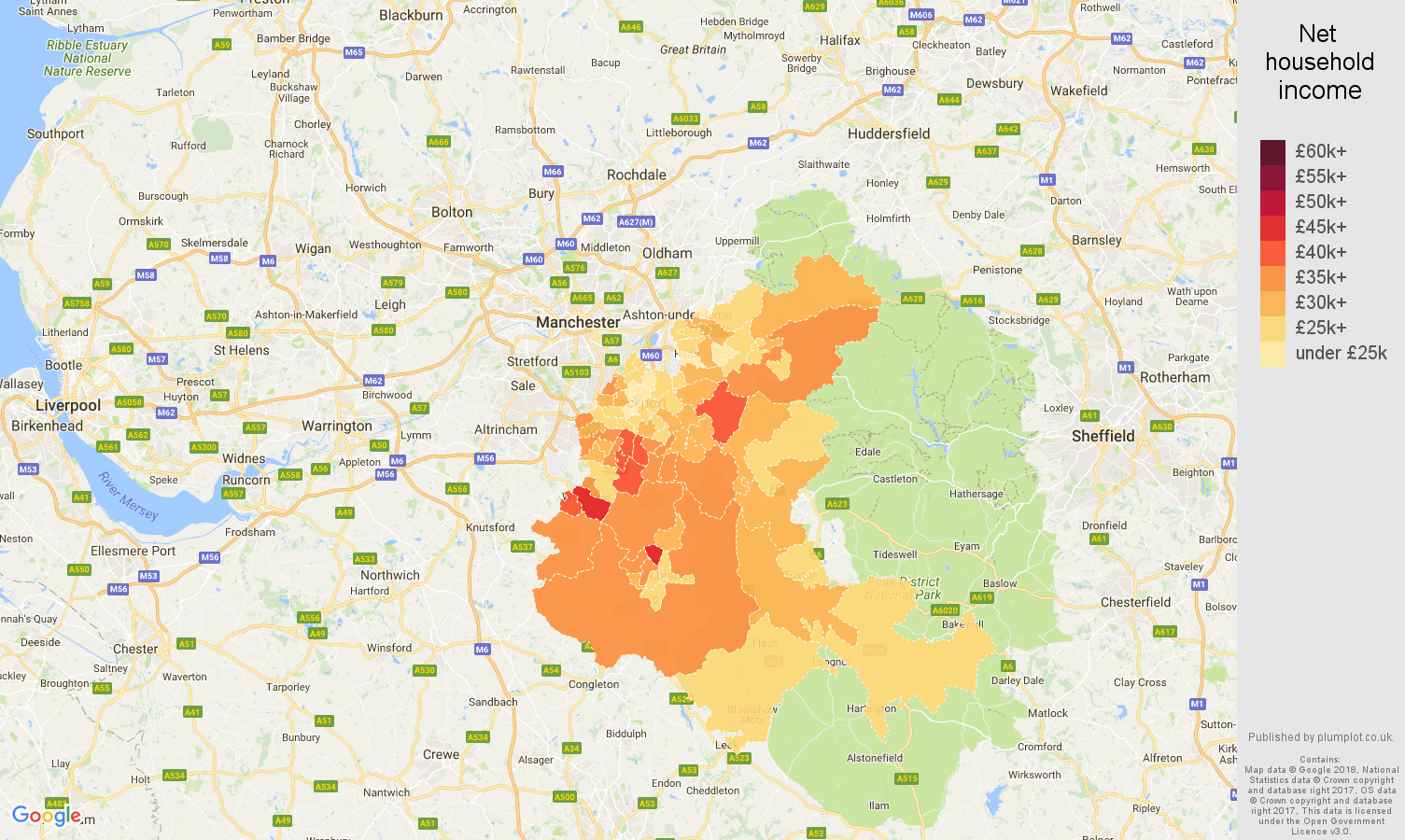 Stockport net household income map
