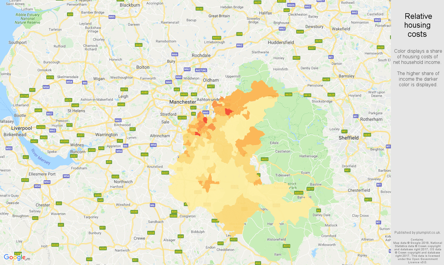 Stockport relative housing costs map