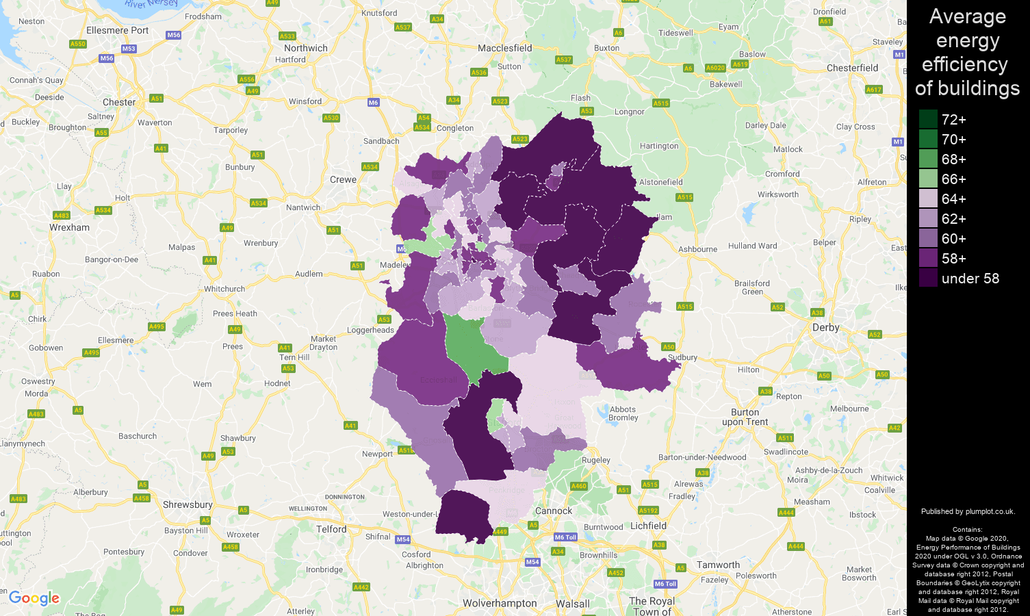 Stoke on Trent map of energy efficiency of houses