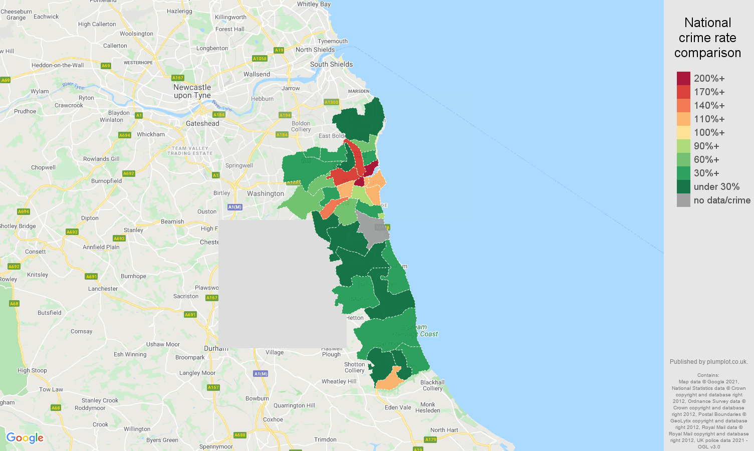 Sunderland bicycle theft crime rate comparison map
