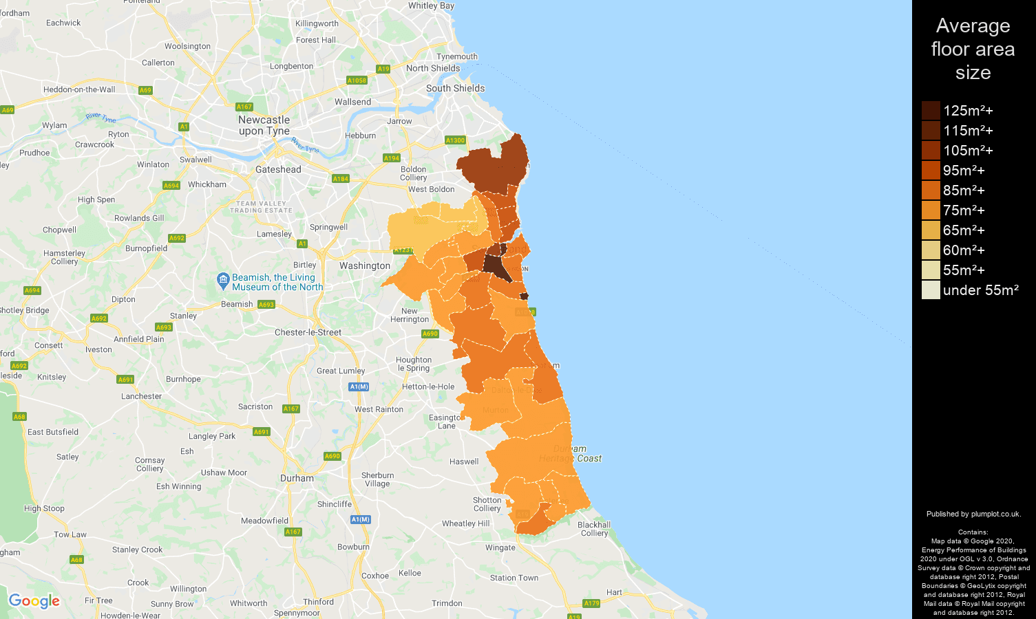 Sunderland map of average floor area size of houses