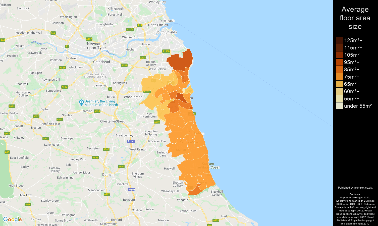 Sunderland map of average floor area size of properties
