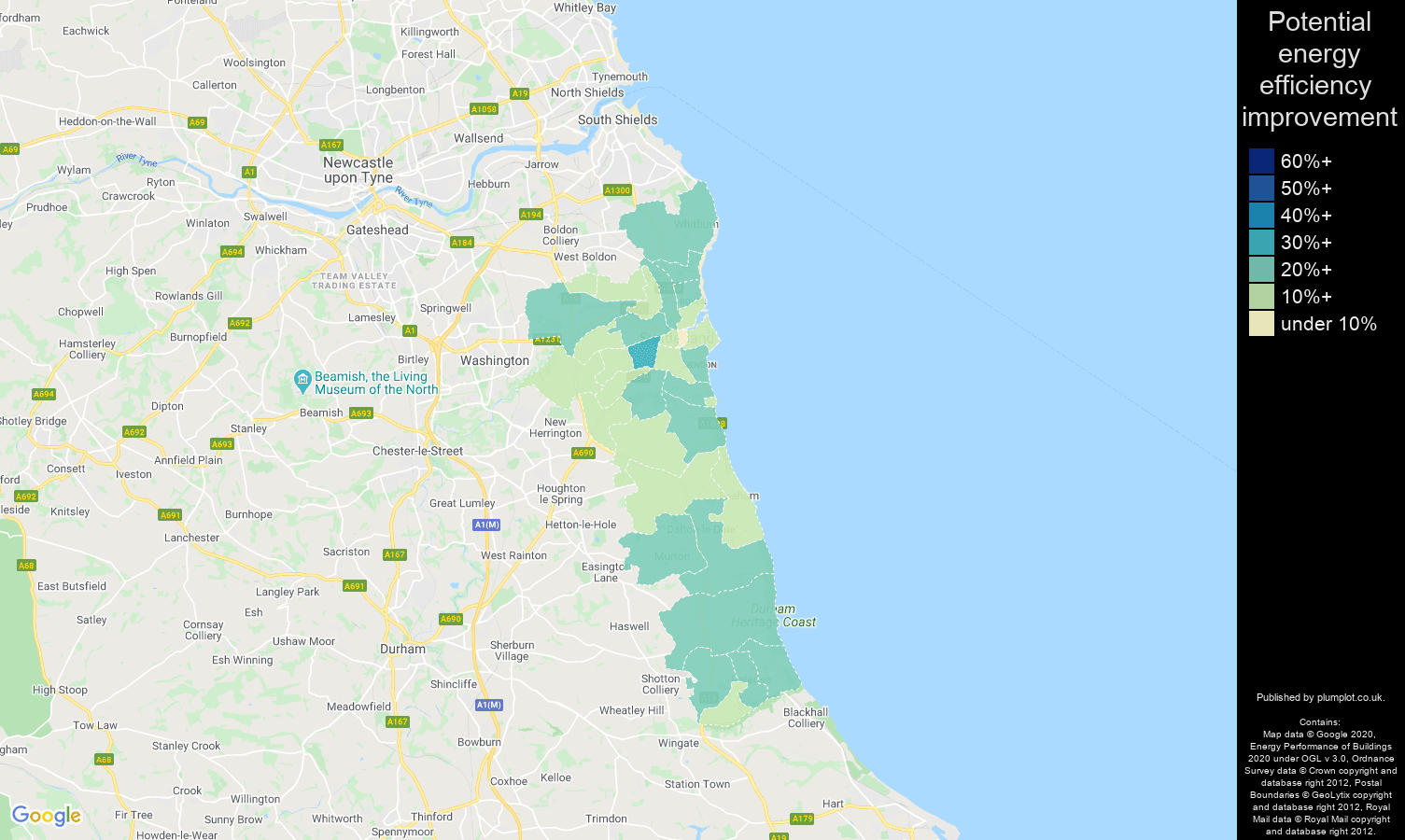 Sunderland map of potential energy efficiency improvement of properties