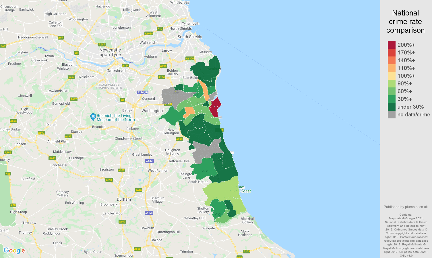 Sunderland robbery crime rate comparison map