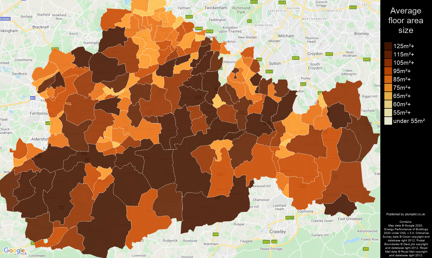 Surrey map of average floor area size of properties