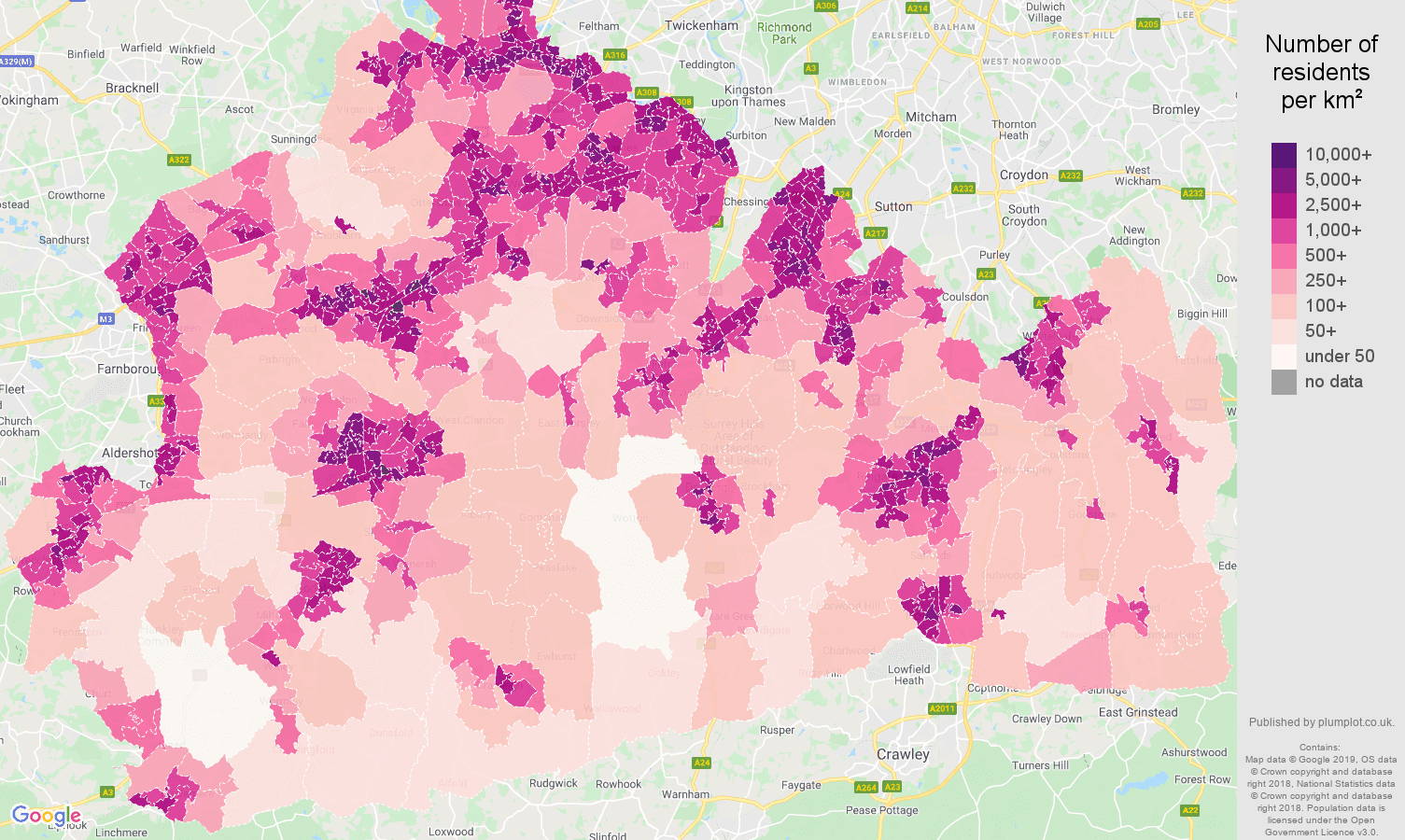 Surrey population density map