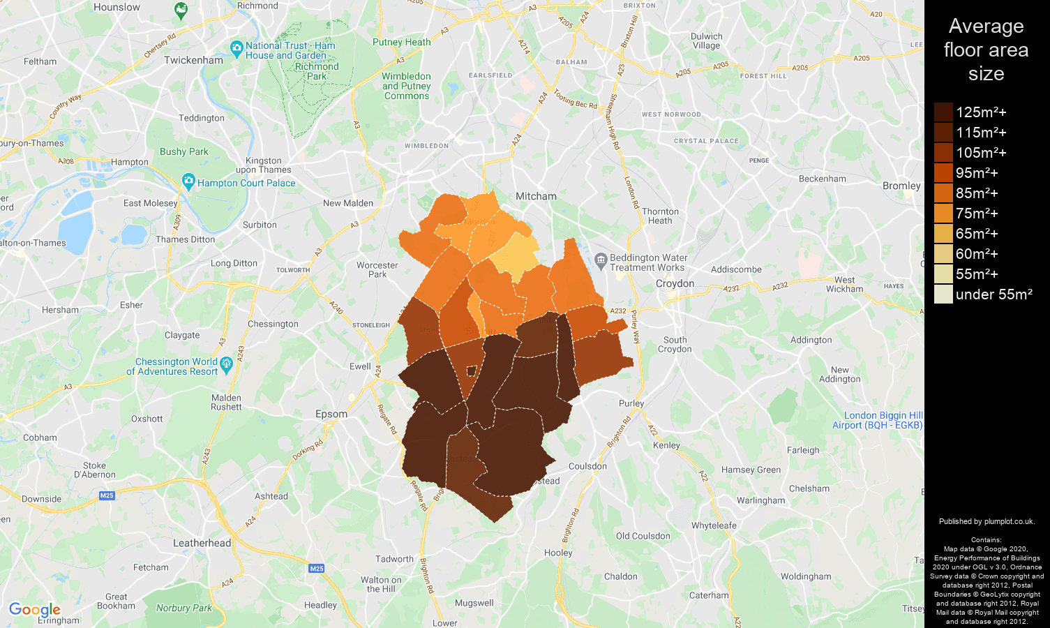 Sutton map of average floor area size of houses