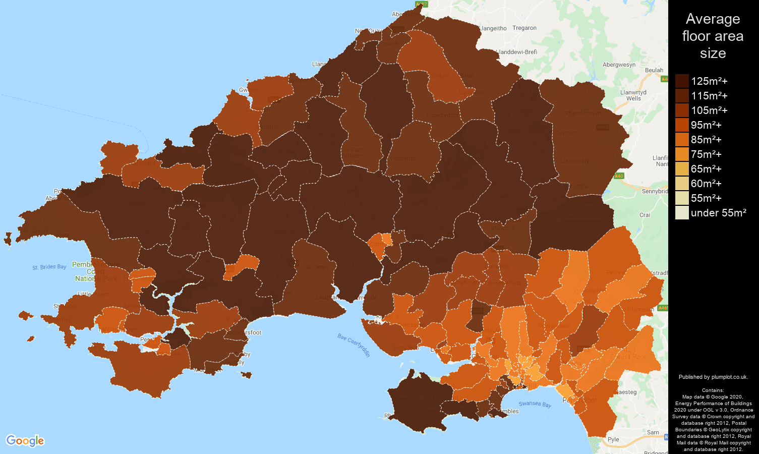 Swansea map of average floor area size of houses